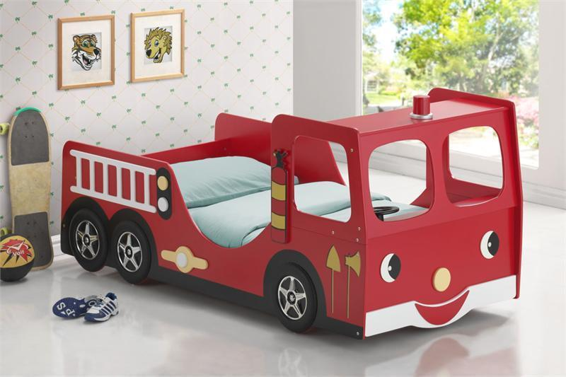 Kids bunk beds fire engine racing car bed children bedroom furniture two layer ebay - Fire engine bed plans ...