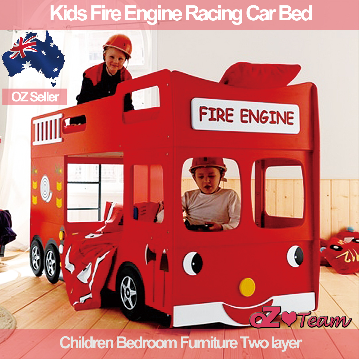 kids bunk beds fire engine racing car bed children bedroom furniture two layer ebay