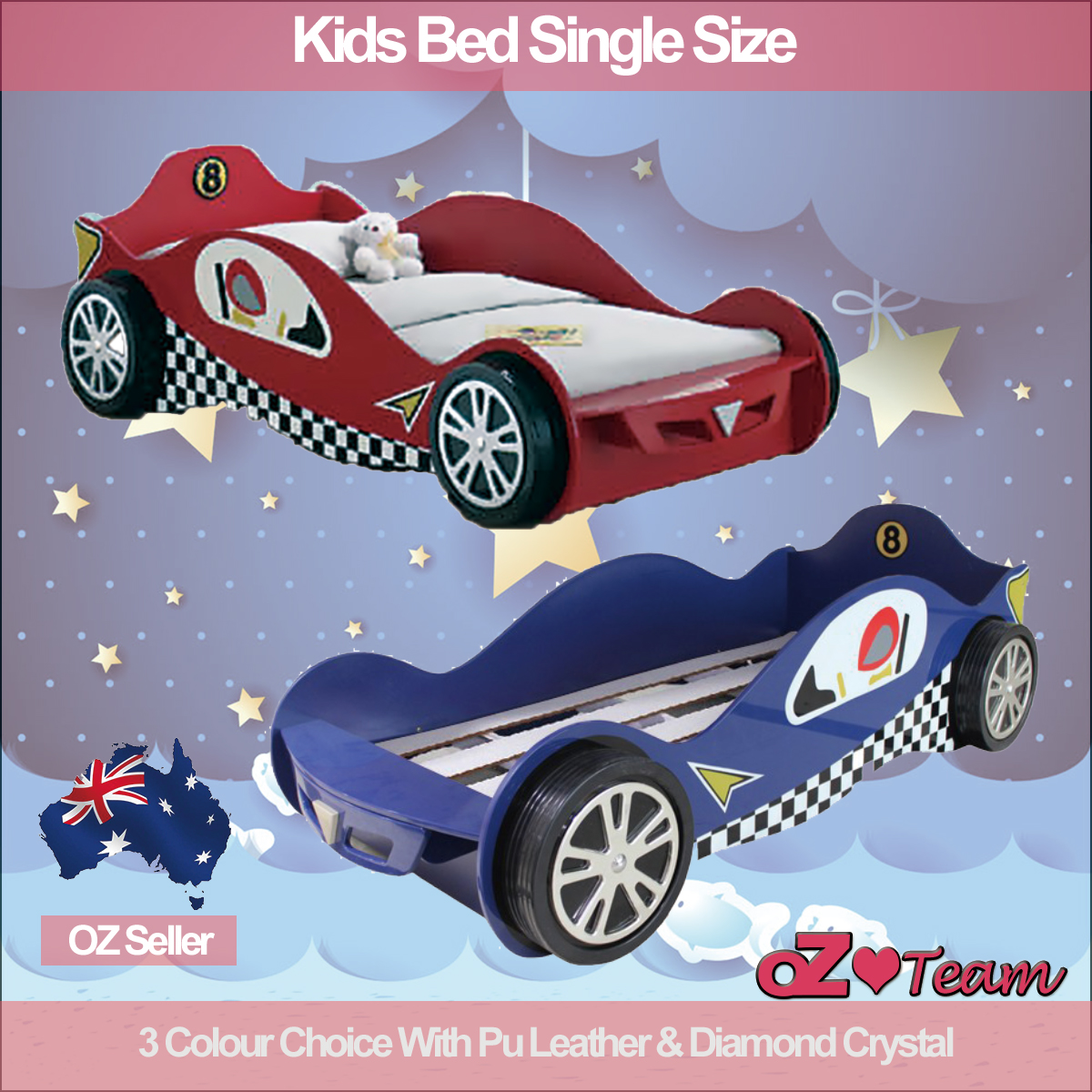 kids racing car bed single size children bedroom furniture kids race bedding ebay