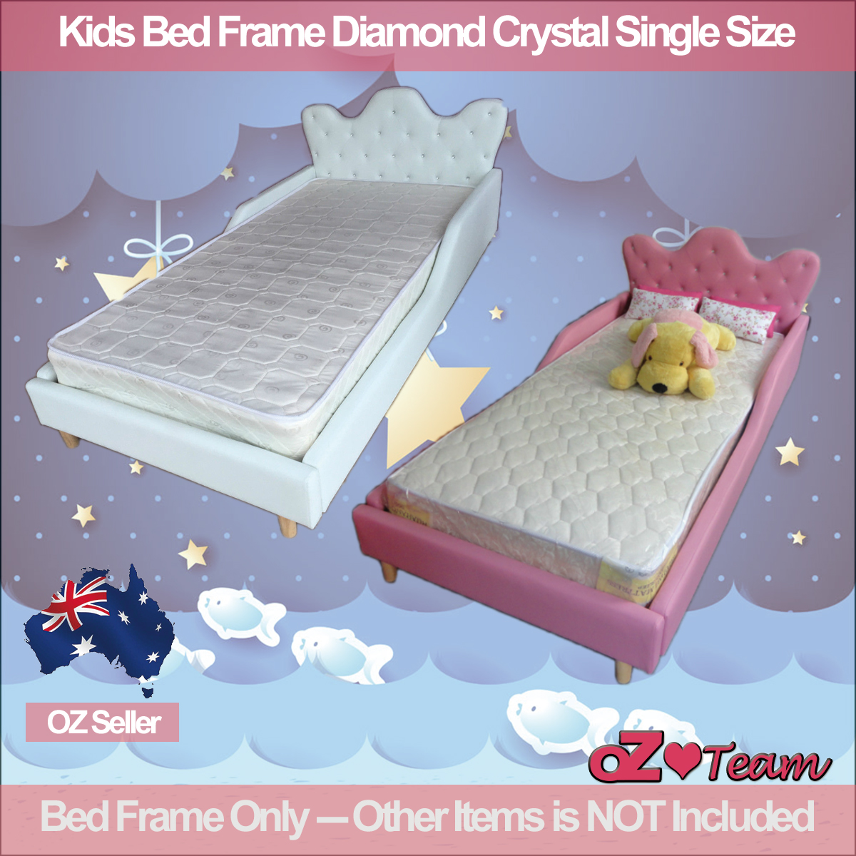 Kids Bed Frame PU Leather Girls Boys Children Baby Diamond Crystal ...