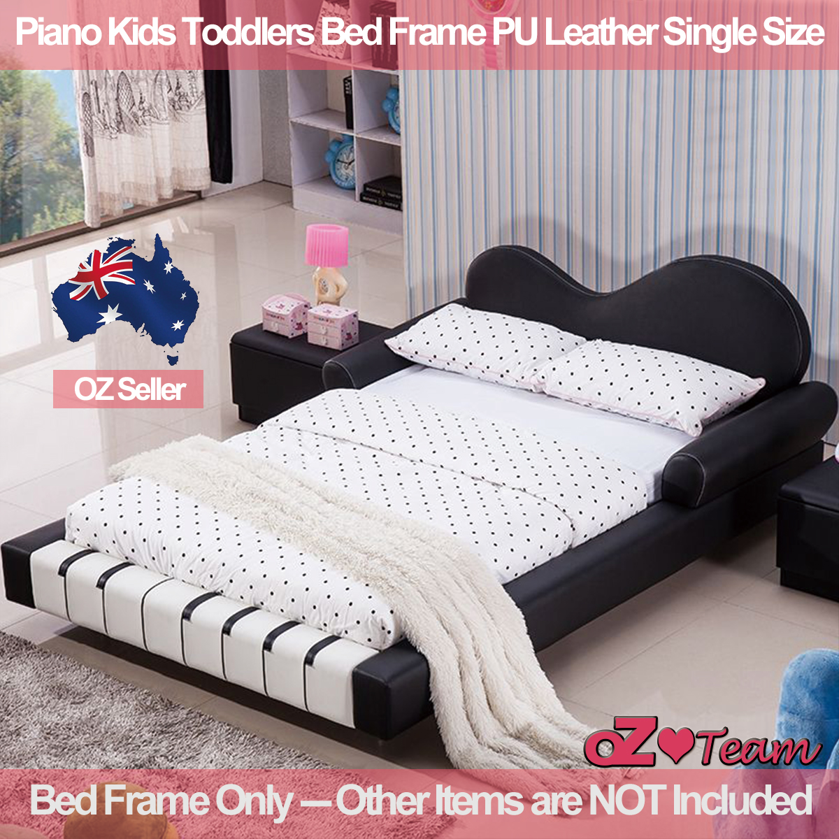 Piano Kids Toddlers Bed Frame PU Leather Girls Boys Children Single ...
