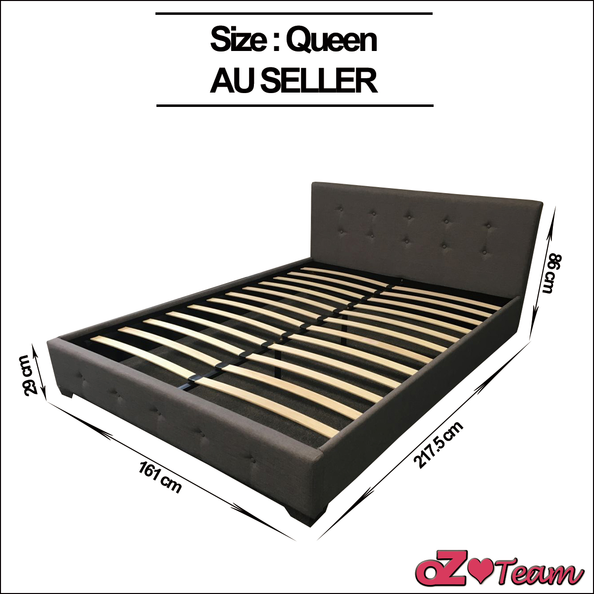 Bed Fabric Frame Deluxe Queen King Double Size Bedding Mattress Optional Plus Ebay